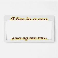 I-live-in-a-van-(dark-shirt) License Plate Holder