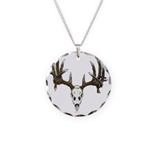 whitetail deer skull, illust Necklace