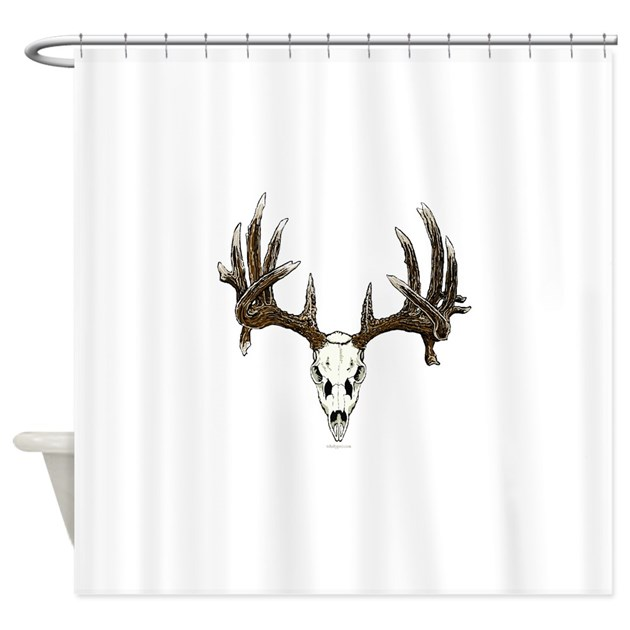 Whitetail Deer Skull Illustration Shower Curtain By Admin Cp7673574