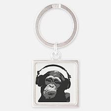 DJ MONKEY grey Square Keychain
