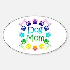 """""""Dog Mom"""" Sticker (Oval)"""