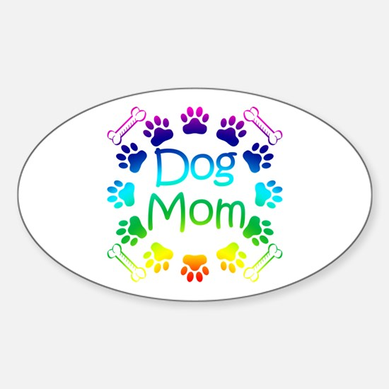 """Dog Mom"" Sticker (Oval)"