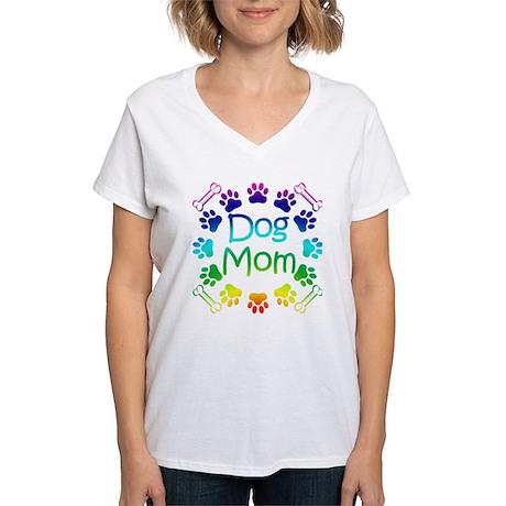 """Dog Mom"" Women's V-Neck T-Shirt"