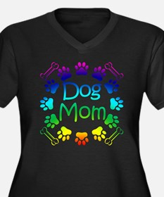 """Dog Mom"" Women's Plus Size V-Neck Dark T-Shirt"
