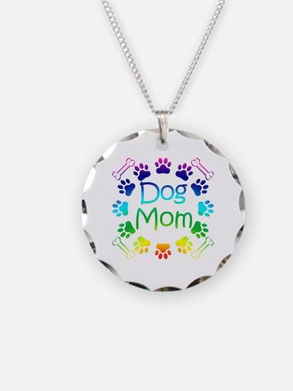 """Dog Mom"" Necklace Circle Charm"