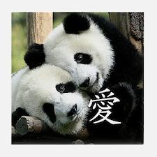 Chinese Love Little Pandas Tile Coaster