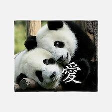 Chinese Love Little Pandas Throw Blanket