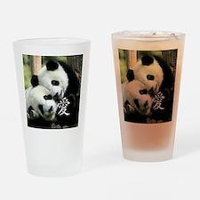 Chinese Love Little Pandas Drinking Glass