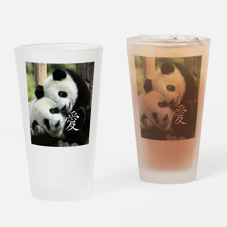 Chinese Love Little Pandas Drinking Glass