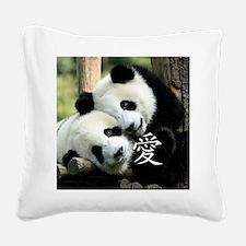 Chinese Love Little Pandas Square Canvas Pillow