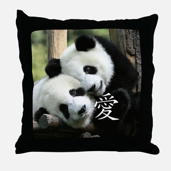 Chinese Love Little Pandas Throw Pillow