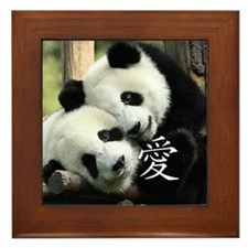 Chinese Love Little Pandas Framed Tile