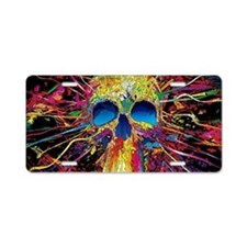 Color Skull Aluminum License Plate