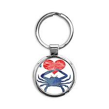 crabHeart Round Keychain