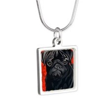 Pugs Are Bright Silver Square Necklace