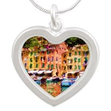 Portofinos small harbour - 1 Silver Heart Necklace