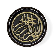 bismillah_gold_filla_on_black_lg Wall Clock