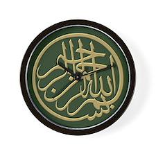 bismillah_gold_filla_on_green_lg Wall Clock