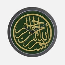 bismillah_gold_filla_on_green_lg Wall Clock