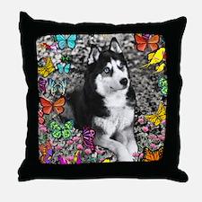 Irie Siberian Husky Butterdlies Throw Pillow