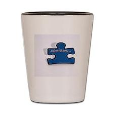 3x3_bear blue puzzle Shot Glass