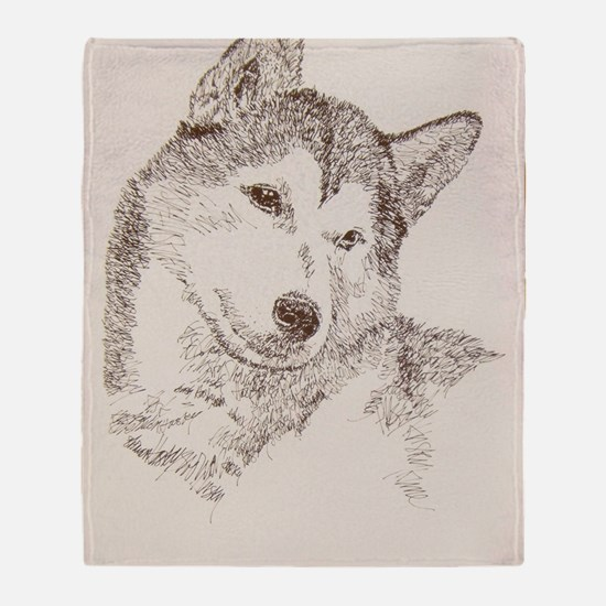 Siberian_Husky_KlineSq Throw Blanket