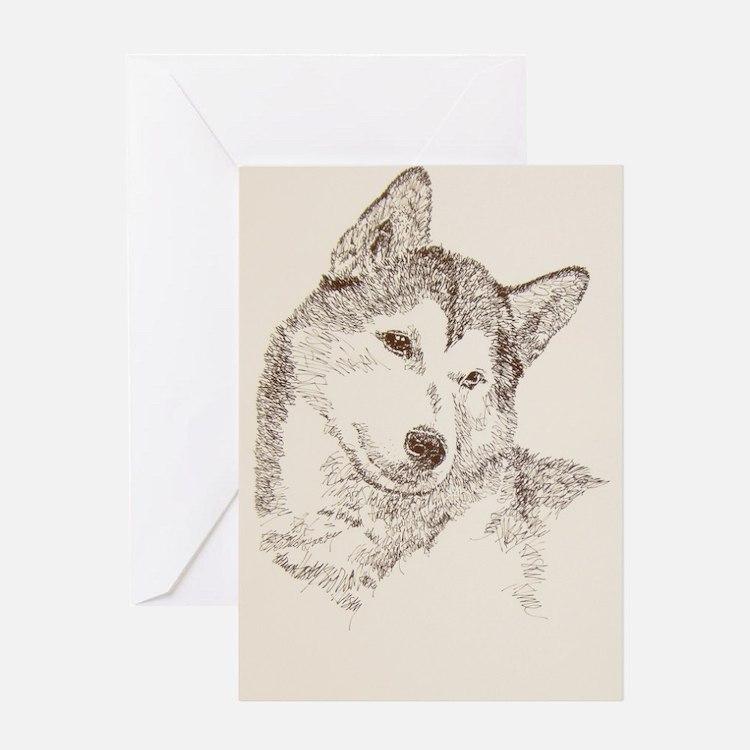 Siberian_Husky_KlineSq Greeting Card