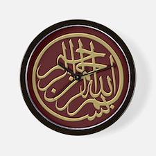 bismillah_gold_filla_on_maroon_lg Wall Clock