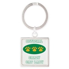 official crazy cat lady Square Keychain