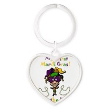 mardi gras baby Heart Keychain