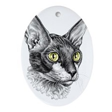 Cornish Rex for darks Oval Ornament