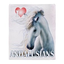 I Love Andalusians Throw Blanket