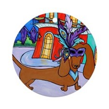 mardi_doxie_red_poster Round Ornament