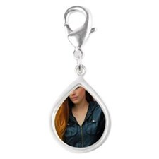 Portrait of a young woman Silver Teardrop Charm