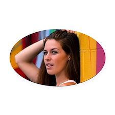 Portrait Of A Woman Oval Car Magnet