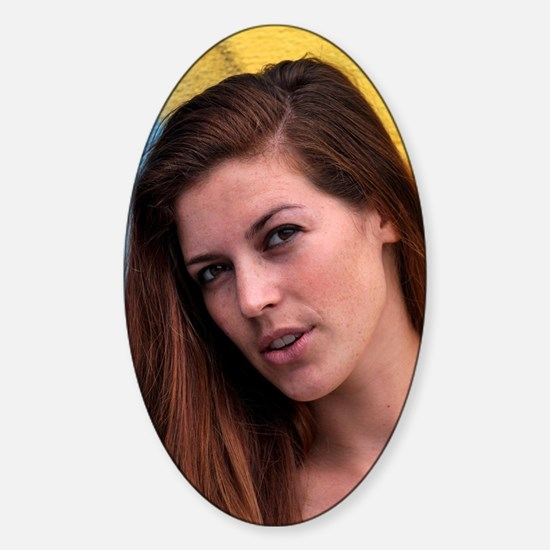 Young Woman Sticker (Oval)