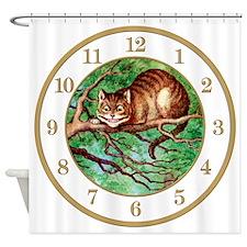 ALICE_CHESHIRE CAT 2 CLOCK Shower Curtain