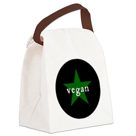 vegan badge bigger Canvas Lunch Bag