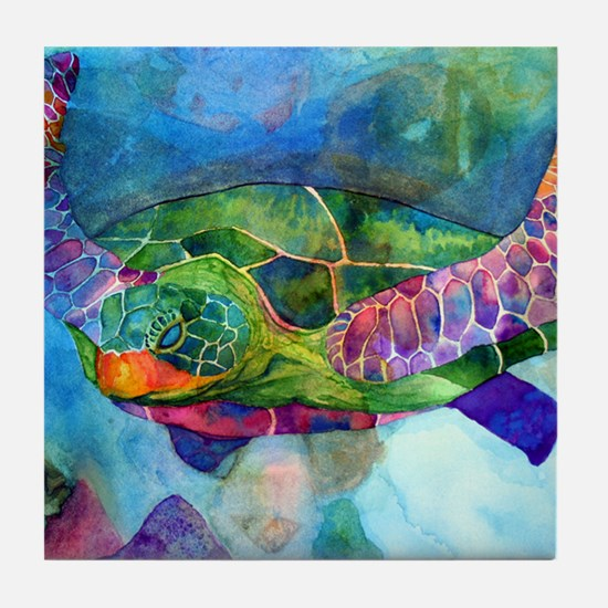 sea turtle full Tile Coaster