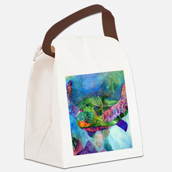 sea turtle full Canvas Lunch Bag