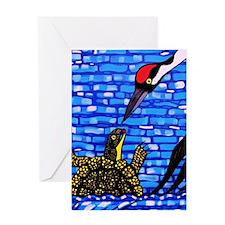 Blandings Turtle and Whooping Crane Greeting Card