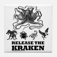 kraken and mythological beasts Tile Coaster