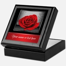 Rich Elegant Red Rose Personalized Keepsake Box