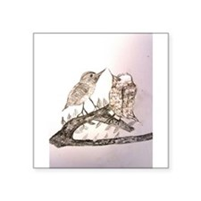 "TomerTal two birds Square Sticker 3"" x 3"""