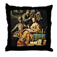 Rembrandt - Musical Allegory Throw Pillow