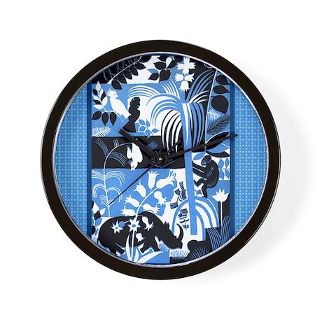 FIN-wild-animals-pillow-blue Wall Clock