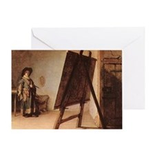 Rembrandt - Artist in his Studio Greeting Card