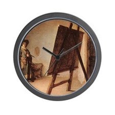Rembrandt - Artist in his Studio Wall Clock