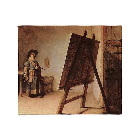 Rembrandt - Artist in his Studio Throw Blanket