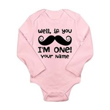 1st Birthday Mustache Personalized Long Sleeve Inf